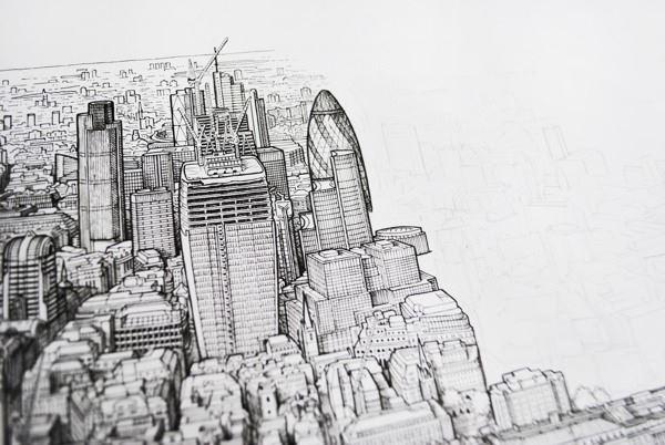 人的手绘伦敦全景