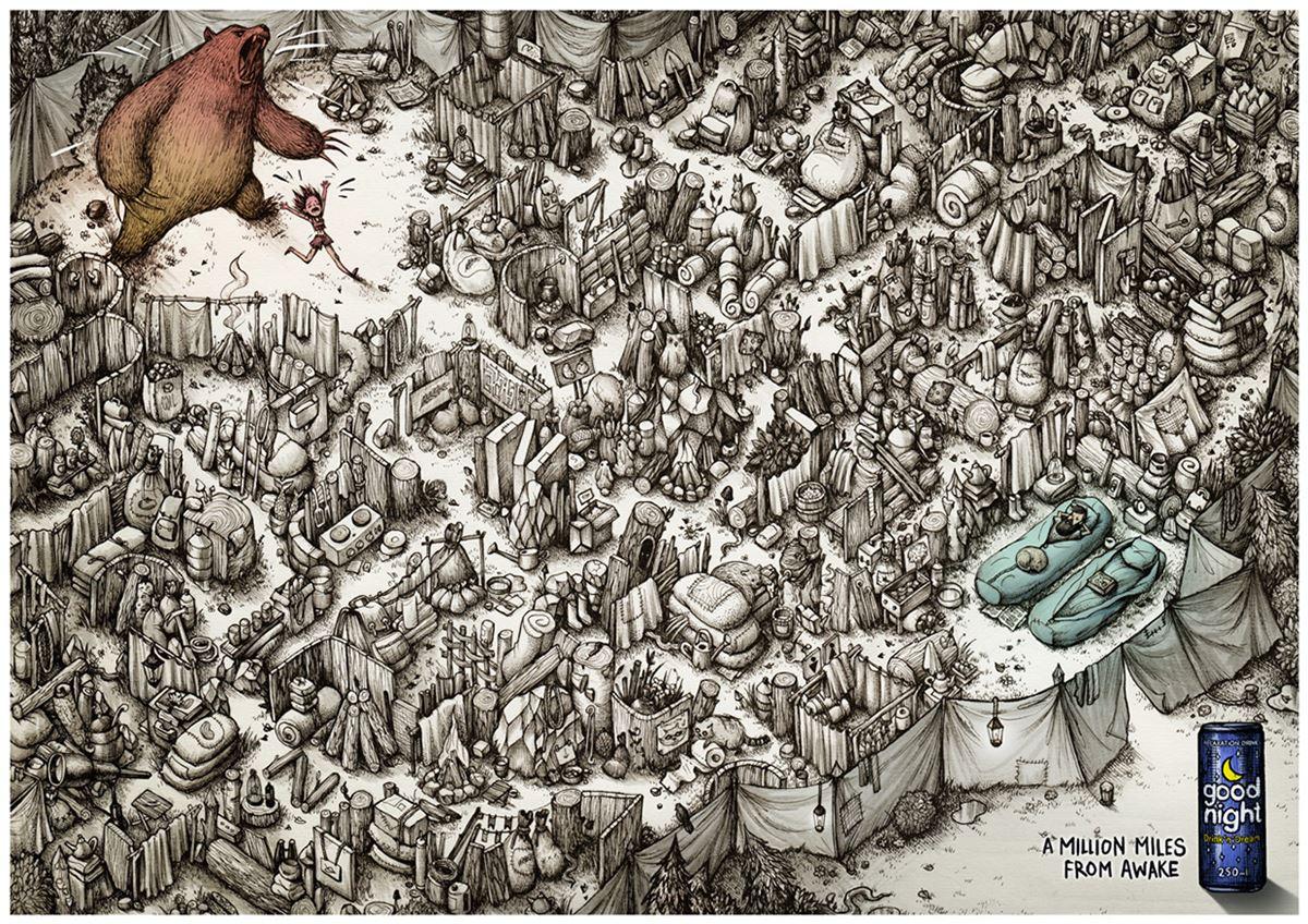 惊人的错综复杂手绘插画广告作品