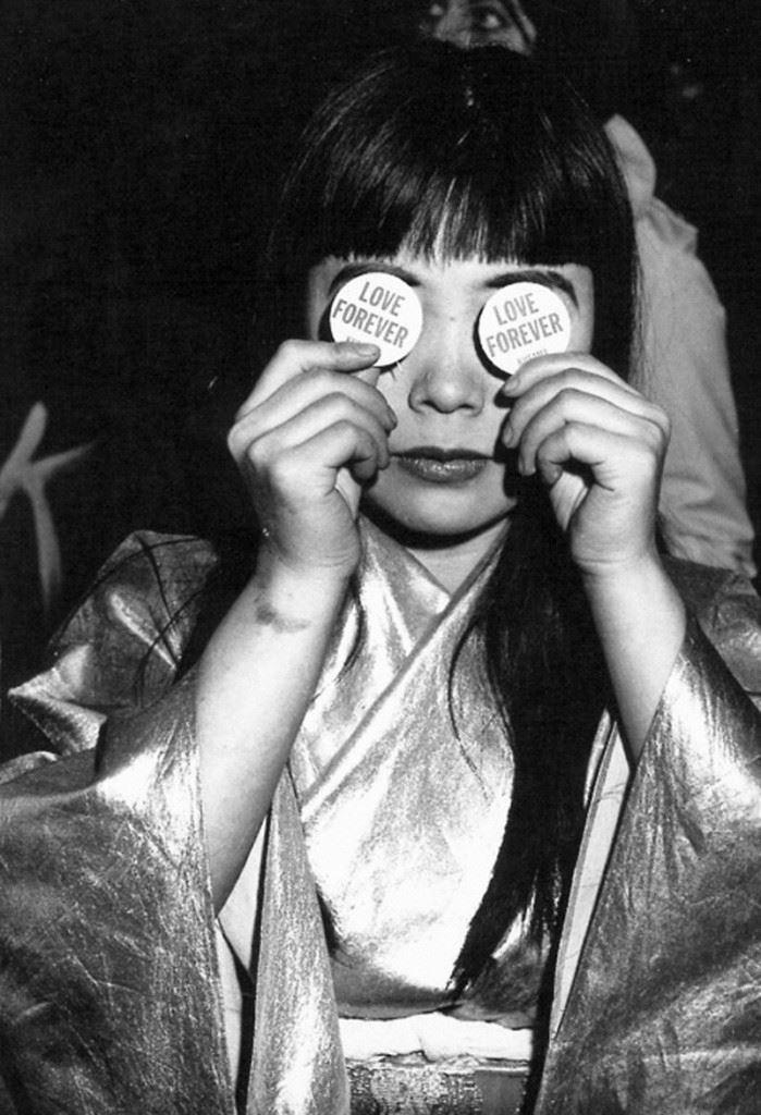 The artist at Kusama's Peep Show exhibition at the Castellane Gallery, New York, 1966. Image courtesy Ota Fine Arts Tokyo © Copyright Yayoi Kusama, Yayoi Kusama Studio Inc.