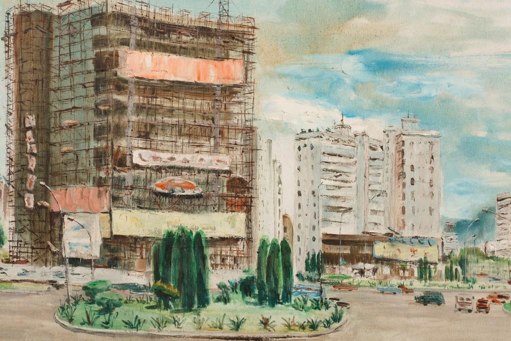 台北街景。1978年。油彩、畫布。圖/徐馨慧提供
