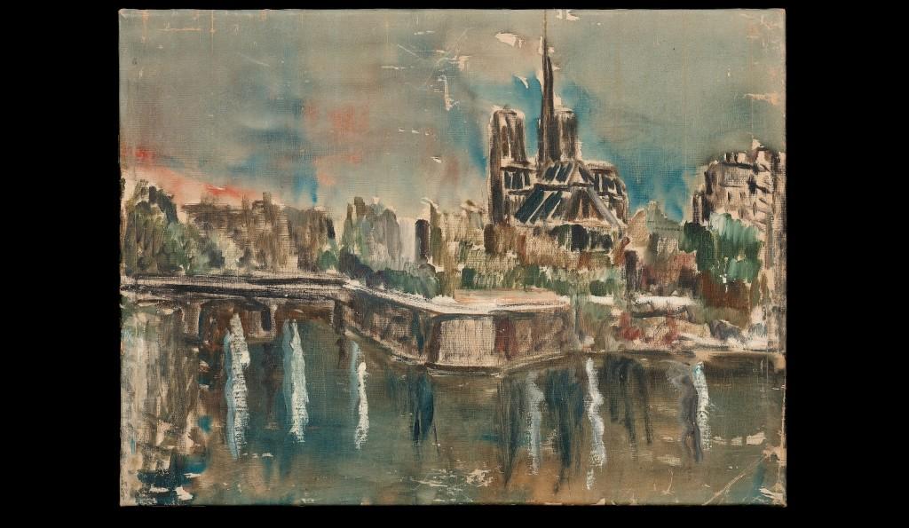 風景(巴黎聖母院)。1960年。油彩、畫布。圖/徐馨慧提供