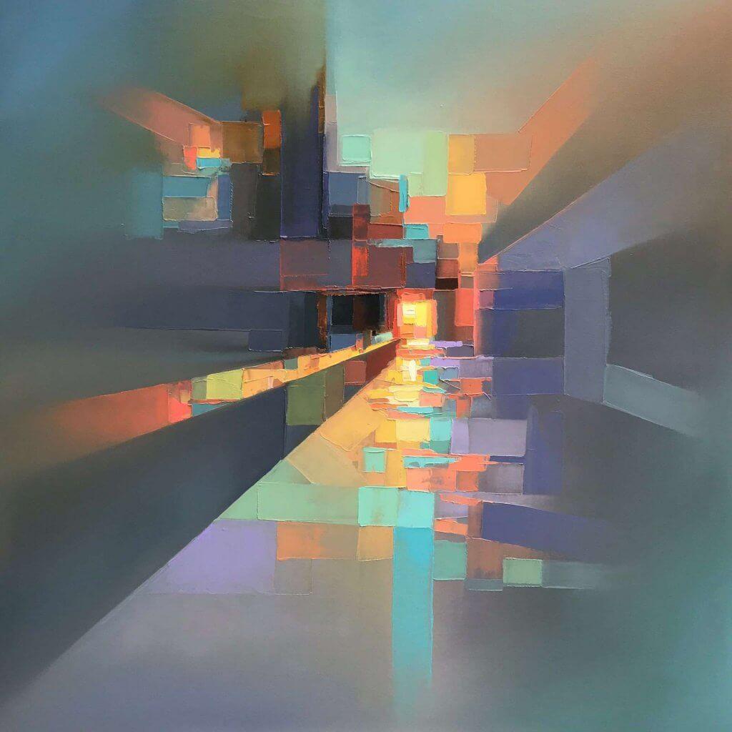 dpi,馬賽克,油畫,城市風景,抽象